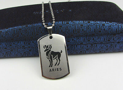 Aries 1pcs Women/ Men's Silver 316L Stainless Steel  Pendant Necklace