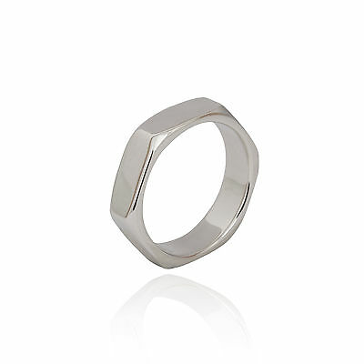 Sterling Silver 925 thick chunky boho ladies hexagon shape stacking ring / Gift
