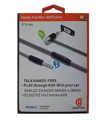 Brand new Griffin handsfree AUX cable with microphone play through AUX-IN in car