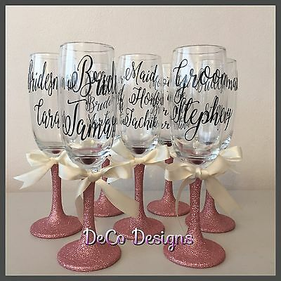 Personalised Glitter Glasses Bridesmaid Wedding Wine Prosecco Champagne Flute