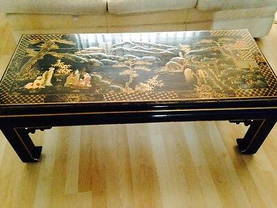 Black Lacquer Chinese Inlay Coffee Table