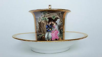 KPM BERLIN 1820-1840 years CUP WITH SAUCER WOMAN AND MAN LOVE STORY