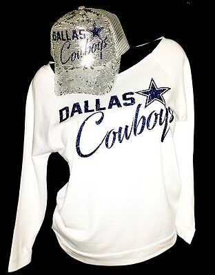 "Dallas Cowboys White Rawedge Lt Wt. 3/4Slv Top~Silver Sequin Cap ""Combo Deal"""
