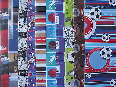 20 Sheets Of Good Quality Male Birthday Wrapping Paper