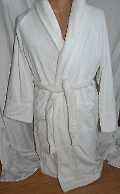 Frette White 100% Cotton Turkish Terry Shawl Collar Belted Robe Unisex small S