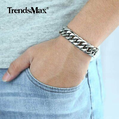 """7-11""""MENS 316L Stainless Steel 15mm Silver Double Curb Cuban Link Chain Bracelet"""