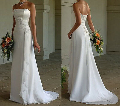 New White Ivory Chiffon Wedding Dress Bridal Gown Stock Size 6 8 10 12 14 16