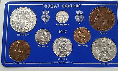 1917 George V  Coin Set - 100 Years Old - Exceptional Quality .