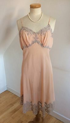 Vintage 40s Peach Silk Slip French Lace Hand Made Exquisite Delicious Curvy 40""