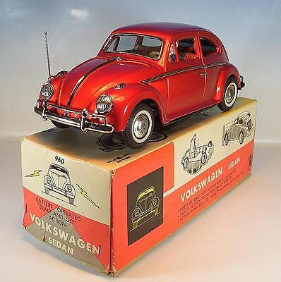 Bandai Japan Blech Nr. 960 VW Volkswagen Sedan Käfer rot in O-Box #1111