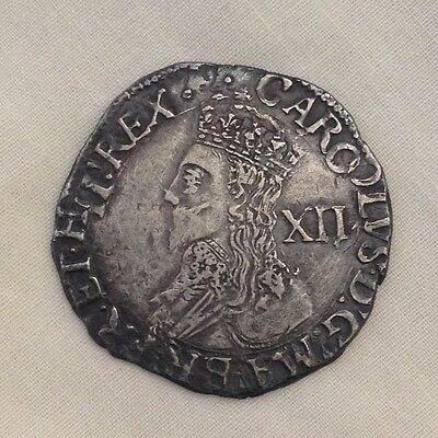 Charles I shilling silver hammered coin 1st