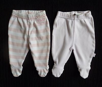 Baby clothes GIRL newborn 0-1m 2 pairs footed soft trousers pink/white stripes