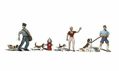 A2143 animaux chiens personnages train diorama décor N 1/160