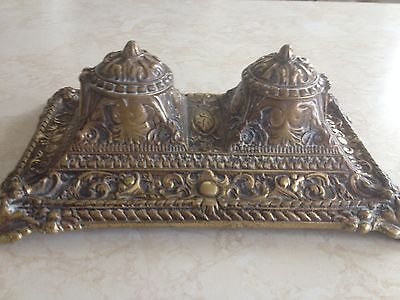 Beautiful Vintage Double Brass Inkwell
