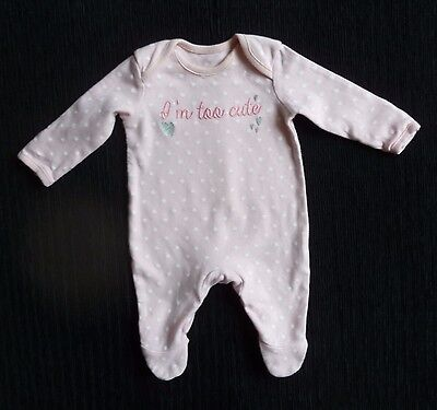 Baby clothes GIRL newborn 0-1m pink/white/silver heart soft babygrow SEE SHOP!