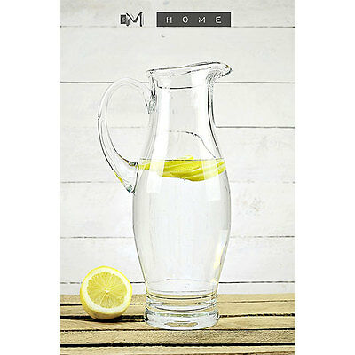 Handmade Clear Glass Jug Pitcher Water Wine Juice Cocktail 1800ml Tall 31 cm