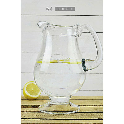 Handmade Clear Glass Footed Jug Pitcher Water Wine Juice Cocktail 2,5L Tall 27cm