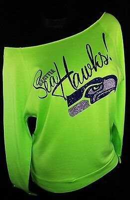 Seattle Seahawks Neon Grn RawEdge Terry Light Wt.Jersey~Add player name & # $10