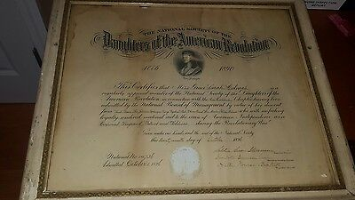 Framed 1896 Document National Society Of Daughters Of The American Revolution