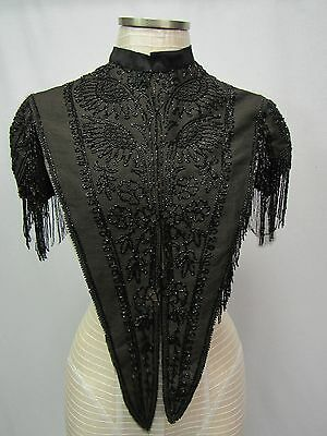 Antique 1800's Victorian Jet Black Glass Beaded Mourning Cape