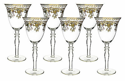 Fine 10 oz Wine Glass Goblets with Gold Accented Rim 8 Inches tall 6 Piece Gift