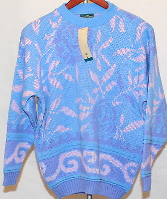 NEW NOS Vtg 80s Pastel Acrylic Crew Sweater Fairy Kei Women L Large Made in USA