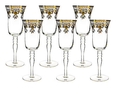 Fine 10 oz Champagne Flutes with Gold Accented Rim 8 Inches tall 6 Piece Gift Se