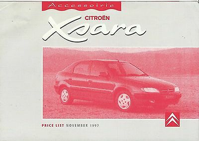 CITROEN XSARA original 1997 UK ACCESSORIES PRICE LIST leaflet brochure