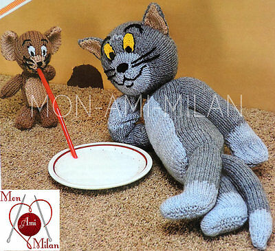 Knitting Pattern TOM and JERRY TOYS - CAT & MOUSE CARTOON CHARACTERS - DK - PDF