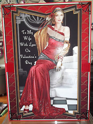 Handmade Art Deco personalised valentines day wife card a classic lady in red