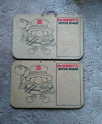Vintage Mr Wimpy Notice Boards x 2 - Rare from the Restaurant