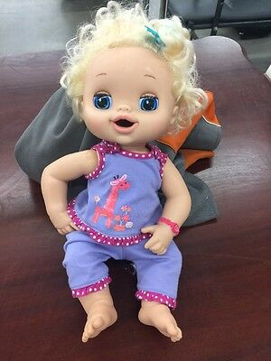 Hasbro My Baby Alive Eats Talks Pees Poops Doll Blonde Blue Bow