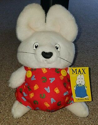 "VTG Max & Ruby Bunny Rabbit Stuffed Plush 10.5"" Red Outfit 1997 Rosemary Wells"