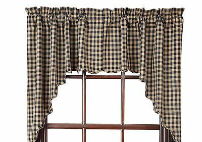 New Primitive Country Farmhouse TAN & BLACK CHECK SCALLOPED CAFE SWAGS Curtains