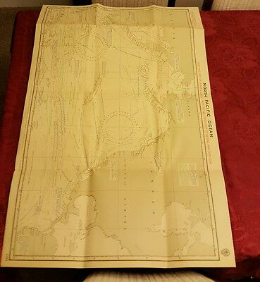 North pacific ocean chart linen 1942