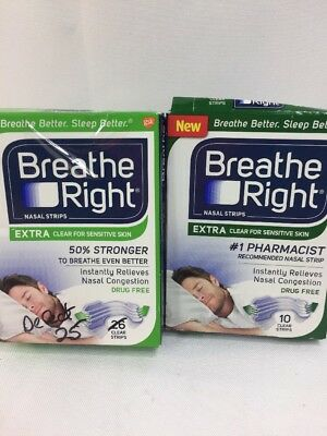 (2) Breathe Right Nasal Strips Extra Clear Sensitive Skin One Sz Adult 25ct + 10