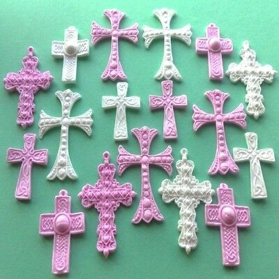 16 Edible sugar crosses baby christening communion cake toppers decorations