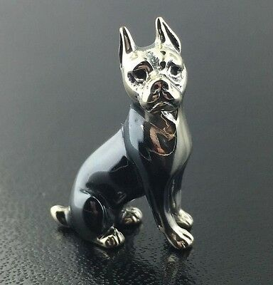 Sterling silver & burnished tiny Saturno Boxer figurine