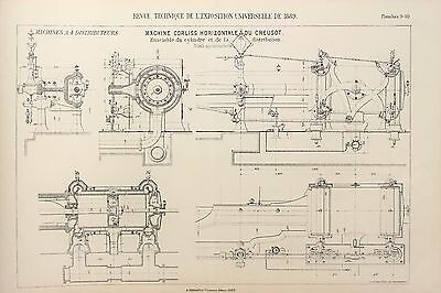 Antique 1889 Engineering Print - French - Steam Engines Machines Mechanics 9/10