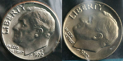 1972 P and D Roosevelt Dime 2 Coins from US Mint Set BU Cellos Ten Cents Two 10c