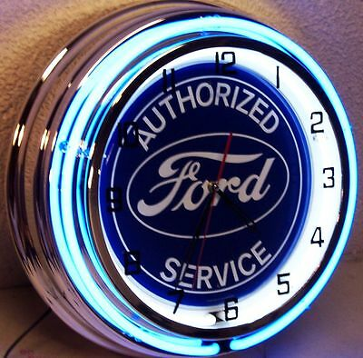 "18"" FORD Blue Oval Authorized Service Sign Double Neon Clock"
