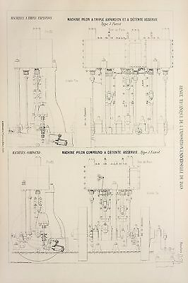 Antique 1889 Engineering Print - French - Steam Engines Machines Mechanics 71/72