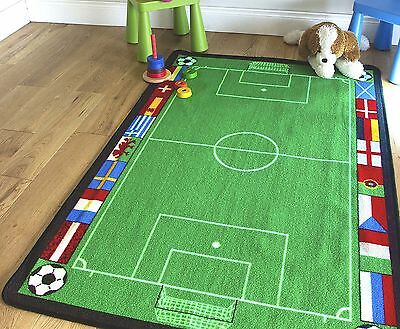 Small /Medium/ Large Non Slip Football Pitch Euro Ground  Kids Rugs