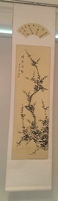 Large Japanese Hand Painted Wall Scroll Silk & Parchment (Very Long)