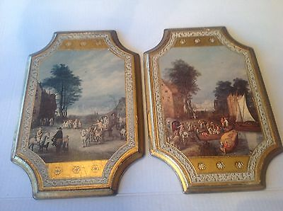 Vtg Italian Art Florentine Wood Wall Plaque/Hanging w Gold Foil Made in Italy