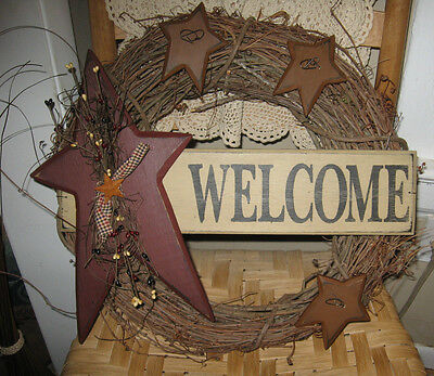 Primitive Country Star Welcome Wreath
