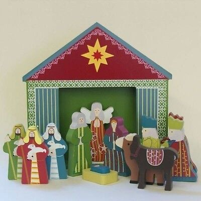 Childrens Wooden Nativity Set with Shed 3 inch Figures Figurines Wood BRAND NEW