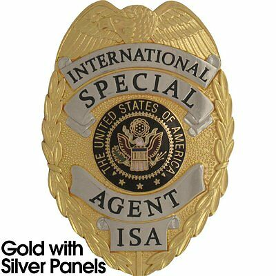 435 International Special Agent Badge Set Gold w/ Silver Finish-Free Badge Case