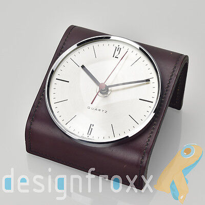 Vintage Mid Century Modern Leather Table Desk Clock Jacques Adnet Style