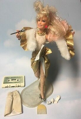 Jem and the Holograms GLITTER N GOLD doll & Accessories *Working* vintage Hasbro